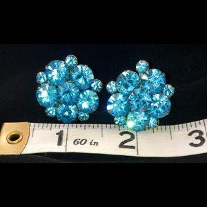 Vintage Blue Rhinestone Screw Back Earrings